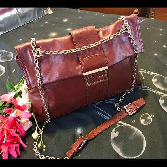 Fendi Handbags - FENDI MAXI SHOULDER/BROWN LEATHER BAG/FLAP CLOSURE